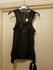 WAREHOUSE LOVELY BLACK SILK CONTRAST SHEER TRIM BOW FRONT SIDE TIE TANK VEST TOP