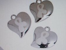 12 Silvertone HEART WHITE AWARENESS Ribbon CHARMS lung cancer FREE SH