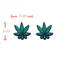 SET OF 2 SMALL CANNABIS LEAF MARIJUANA EMBROIDERED IRON ON PATCH SEW APPLIQUE