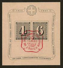Suiza: 1943 cantonales Centenario Hojita Bloque Sg ms430b Fine Used