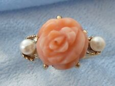 14K Yellow Gold Ring, 10mm Natural Carved Rose Coral, 2, 3mm Pearls, Size 4.75