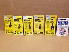 Lot of 5 assorted Sizes Stanley Plug Cutters & Drywall Screw Bit  New Old Stock