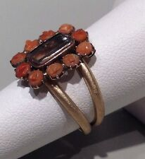 A RARE GEORGIAN MOURNING PIECE IN A CORAL RING  14k YELLOW GOLD - SIZE 6.5