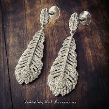 Stunning silver white crystal peacock feather statement dangling stud earrings