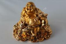 Golden Chinese Feng Shui Lucky Laughing Happy Buddha On Golden Coins Ingots