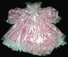 ADULT SISSY FRENCH BABY SATIN DRESS ~ Pink & White