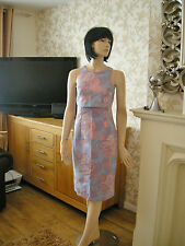8 ASOS JACQUARD PENCIL DRESS MIDI  CROP TOP BLUE PINK 70'S RETRO SUMMER HOLIDAY