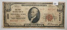 1929 Newport News Virginia National Bank Note $10 Currency 4635