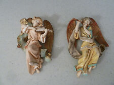 TWO Vtg Depose E Simonetti Italy Fountain Mark Musical Angels Violin Flute