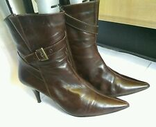 Next Womens Brown Leather Stiletto Heel Ankle Winter High Boots Size UK 6.5 40