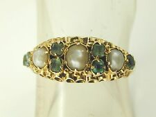 Victorian emerald & pearl ring 15 carat gold date 1864 size O 1/2 0.24 carats