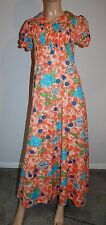Vtg 1960s 70s Floral Poly Smocked Maxi Dress EUC S M
