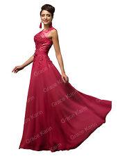 Largo Applique Vestido de noche fiesta vestido de dama de honor de novia 32-46