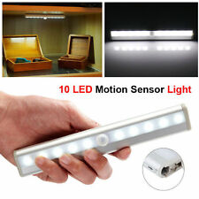 New 10 LED Cabinet Wardrobe Stairway Battery Power PIR Motion Sensor Cool Light