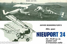"""Model Airplane Plans (RC): NIEUPORT 24 Scale 40"""" Biplane for .15-.20ci Engines"""