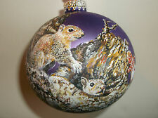 Hand Painted Squirrel Large (85mm) Glass Ball Ornament
