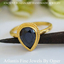 OMER PEAR ONYX STACKING RING STERLING SILVER HANDMADE 24K GOLD PLATED TURKISH