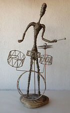 FUNKY WIRE SCULPTURE OF HIPSTER PERCUSSION PLAYER AT TRAP SET