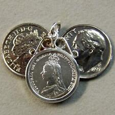 SILVER second hand three pence coin in mount
