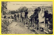 cpa INDOCHINA TONKIN HANOÏ all village and fabrication of paper Workers