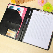 A4 Black Conference Folder Business PU Leather Document Case Bag Clipboard