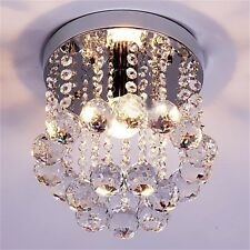 Crystal Droplets Silver Chrome Ceiling Pendant Light Chandelier Fitting Lamp KG