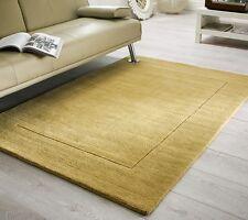 Tuscany Siena Plain Ochre Contemporary Handmade 100% Rich Wool Rugs 80x150cm