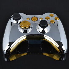 Set Full Shell Cover Case + Buttons for Xbox 360 Wireless Controller Silver  GU