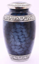 Adult cremation urns for ashes, funeral memorial urn, Blue Clouded Aluminium