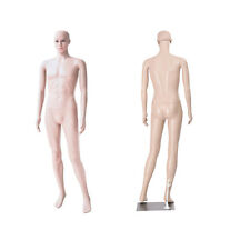 Male Mannequin Plastic Realistic Display Head Turns Dress Form w/ Base 72.83""