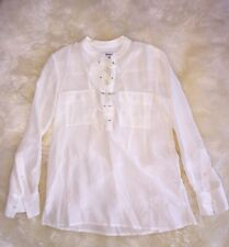 NWT MADEWELL J CREW SILK LACE-UP SHIRT SIZE XL BRIGHT IVORY F5937 $110 SOLDOUT!