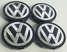 4x VW Volkswagen 63mm FLAT Alloy Wheel Centre HUB Caps Golf Passat Sharan Jetta