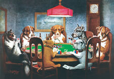 DOG ART PRINT - Friend in Need CM Coolidge 16x12 DOGS PLAYING POKER CARDS Poster