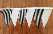 BLACK & WHITE STRIPE   MINI  Fabric Bunting, Party / Bedroom / Decoration 3mt