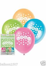 8 Polka Dot Baby Shower UNISEX BOY GIRL Palloncini Lattice Pastello Decorazione 42370
