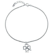 BERRICLE Sterling Silver Clover Fashion Charm Anklet