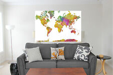 World Map Watercolor Print Color Wall Sticker Wall Mural Over 4 Feet Wide 53x30