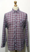 "Vintage Mens 70s Red & Blue Check Lumberjack Shirt LARGE 44"" (42-44) Thin Collar"