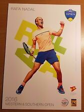 RAFA NADAL 5X7 2016 WESTERN & SOUTHERN ATP TENNIS TOURNAMENT COLLECTOR CARD