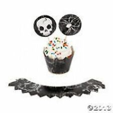 SPOOKY HALLOWEEN CUP CAKE COLLARS and PICKS (12)