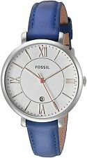 Fossil Women's ES3986  Jacqueline White Dial Indigo Leather Watch