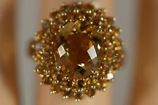 EFFY BH  HEAVY WIDE 14K SOLID YELLOW GOLD 6CTW CITRINE HALO RING 14KT SZ 7 5.13G
