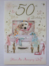 GORGEOUS GLITTER COATED CUTE PLAYFUL PUPPY ON YOUR 50TH BIRTHDAY GREETING CARD