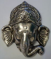 **Beautiful** Small Silver Coloured Ganesh Hindu Metal Wall Plaque Mask