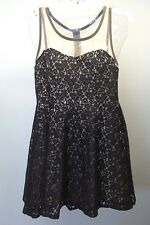 REYNAH Couture Anthropologie Black Sheer Lace Overlay Fit & Flare Dress