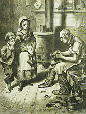 Shoemaker Repair REPAIRING SHOES CHILDREN WATCHING 1873 Antique Print Matted