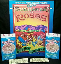 1978 ROSE BOWL GAME jan 1 WASHINGTON vs MICHIGAN WOLVERINES Program vtg TICKETS