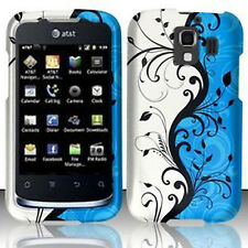 For Huawei AT&T Fusion 2 Rubberized HARD Case Snap On Phone Cover Blue Vines
