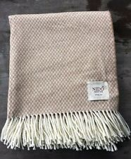 Nido Notte Italy Cotton Blend Throw – Tan and White - New