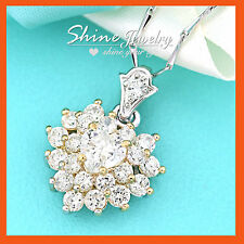 18K GOLD GF ENGAGEMENT WEDDING HEART SWAROVSKI CLUSTER DIAMONDS NECKLACE PENDANT